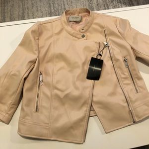 Zara basics, peach cropped faux leather jacket